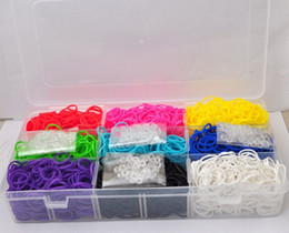 Wholesale 160sets rainbow loom weaving machine booster packs rubber band transparent plastic box to send bag clips
