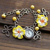 Wholesale New Lady Jewelry Beads Watch Flower Retro Bracelet Cuff Wrist Watch DHL