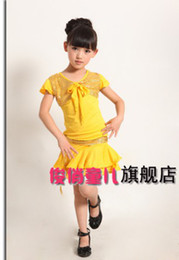 Wholesale New fashion children latin costumes dresses practice competition dancing wear dance stage wear girls costume dance wear clothes DF001