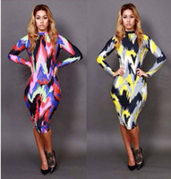 Wholesale Sexy Women s Multi Mix Oil Printing Colors Stretchy Bodycon Party Dresses Fashion Cocktail Celebrity Doll Dress YH029 YH030