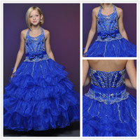 Reference Images Girl Sequins/Cascading Ruffles 2014 Gorgeous Blue Halter Ball Gown Beaded Sequins Applique Crystal Flounce Organza Little Girl Pageant Dresses Flower Girls Formal Dresses