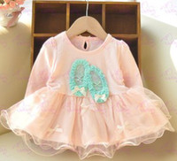 Wholesale 2014 Korean Children Girls Dance Shoes Bowknot Ruffles Gauze Patched Long Sleeve Spring Dress Pink Plain Baby Dresses B3126