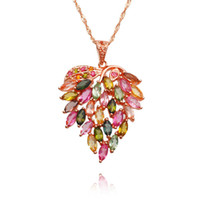 american bustle - Habitat bliss AA grade watermelon tourmaline crystal necklace rose gold plated leaf shaped leaf bustling wave chain