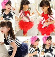 Wholesale Summer Baby Kids Clothing Girls Sets Striped Bowknot T shirt Lace Tulle Veil TUTU Dress Pants Suits Children Outfits Clothes C1538