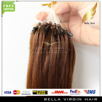 Wholesale Hair Extensions quot Micro Ring Loop Brazilian g strand g set Straight Bellahair A DHL