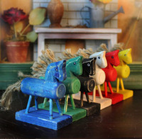 Wholesale New Fashion Home Décor Hemp rope antique Wooden Horse Zakka Style Old Childhood Memory Desk Decoration set Free shiping