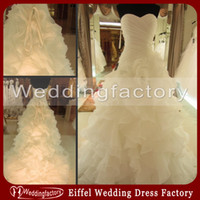 Wholesale Real Image White Ivory Puffy Wedding Dress A Line Sweetheart Ruched Ruffles Organza Brides Dresses Bridal Gowns Lace up Back Top Quality