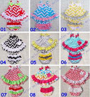 Wholesale new girls Chevron tutu sets girl dress lace pants shorts suit infant romper children outfits dress kids ruffled bloomers sets Melee
