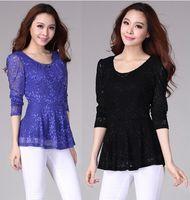 3/4 Sleeve Lace  Mint Casual Lace Women Blouses Plus Size XXL XXXL XXXXL Tops for Ladies Blue Black Roupas Femininas Spring 2014 Woman Clothes Free shipping