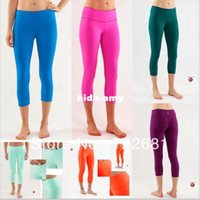 Wholesale NWT LULULEMON pants Discounted Lulu Candy Colors Crops Yoga Capris Legging for Women