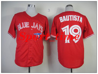 Wholesale Blue Jays Jose Bautista red baseball jerseys with canada flag patch high quality stitched baseball club kit brand sports jerseys cheap