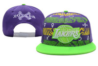Snapbacks Unisex Embroidered Purple Lakers Snapback LA Basketball Hats Green Brim Adjustable Caps Popular Headwears Boys Caps Girls Hats Men Swag Caps Cheap Snap Backs
