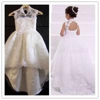 Wholesale 2014 Cheap White Lace Backless Princess Sheer Little Kids Flower Girls Dresses For Wedding LJLK