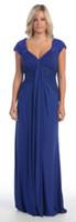 Wholesale 2014 New Cap Sleeve A line Plus Size Mother Of The Bride Dresses Blue Chiffon Applique Beaded Ruffles Evening Dresses M1314