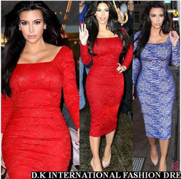 Wholesale Sexy Kim Kardashian Red blue Lace polyester Celebrity Dress Knee Length Square Neck Long Sleeves party evening Dress Pencil Bodycon DK4002SY