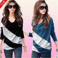 Wholesale 2014 Hot Women Long sleeve Neck Jacket T shirt Mixed colors Loose Thin Large yard Bottoming shirt