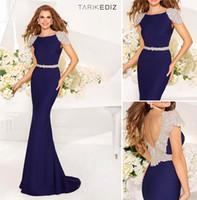 Cheap Hot ! New Bling Fashion Tarik Ediz Cap Sleeve Floor Length Evening Dresses Sexy Backless Waist Beaded Night Long Prom Gown Robe De Soiree