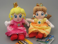 Wholesale 2pcs set High Quality Super Mario bros cm Princess Peach and Embrace mario Plush Toys