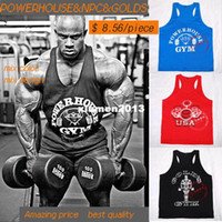 Wholesale Mens Golds POWERHOUSE NPC printed gym vest bodybuidling tank top workouts singlet cotton undershirt for male