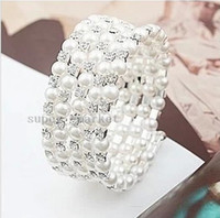 Wholesale Korean Fashion Jewelry Pearl Diamond Multilayer Spiral Wound Wide Bracelet