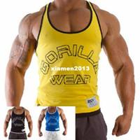 Wholesale E0475 Gorilla Wear Men s Muscle Tank Tops for Gym Fitness Bodybuilding Cotton Loose Professional Sports Vest