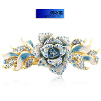 Barrettes & Clips Women's Gift Luxury 18k Gold Plated Austrian Rhinestone Crystal Wedding Bridal Hair Accessories Hair Clip Cloisonne Flowers Hairpins Jewelry For Women G