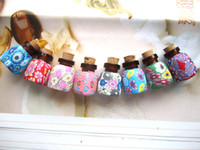 Glass vials - 2ml MINI Colorful Glass Essential Oil Bottle Pendant Fimo Clay Perfume Vials Wedding Gift