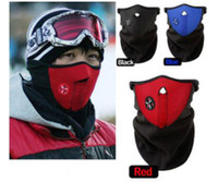Wholesale 100pcs cheaper Thermal Neck warmers Fleece Balaclavas CS Hat Headgear Winter Skiing Ear Windproof Warm Face Mask Motorcycle Bicycle Scarf
