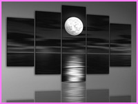 More Panel Oil Painting Abstract Framed 5 Panel Black and White Wall Paintings Canvas Art Abstract Picture Home Decoration X0036