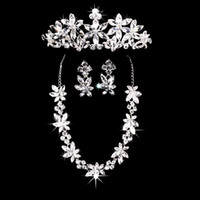 Wholesale 2015 Shining Rhinestones Gorgeous Wedding Jewelry Set Party Bridal Jewellery Sets Including Necklace and Earrings Tiara Crown