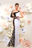 Wholesale Hot Shealth Appliques Satin Elegant Long Sleeve Evening Dresses Celebrity Dresses Beaded Zipper back