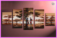 More Panel Oil Painting Abstract Framed 5 Panel Canvas Art African Painting Landscape Picture on the Wall Home Decoration X0039