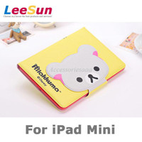 Wholesale New Design Button of Rilakkuma Relax Bear Cartoon Folding Flip Leather Case Cover for iPad Mini