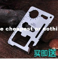 Multi Knife Plastic Rubber 200pcs lot Free Shipping 10 in One Mini Multi Tool Card with leather cover Credit Card Emergency Survival Knife UT004