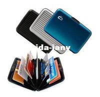 Wholesale New candy color men password plastic aluminium credit card holder Waterproof men wallets case box