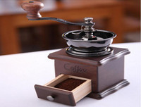 Wholesale Retro Vintage Hand Shaking Coffee Beans Grinder Maker Machine Wooden Manual Coffeemaker Drawer Ceramic Movement Adjustable Thickness DHL