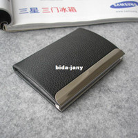 Wholesale Magnetic lock leather bussiness namecard case ID card bank card holder box organizer wallet Black