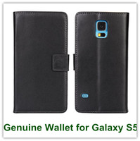 For Samsung Leather For Christmas Black Genuine Leather Wallet Case for Samsung Galaxy S5 i9600 Folio Phone Bag with Slot Stand and Card Holder Free Shipping