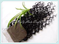 Wholesale free part brazilian virgin hair quot x4 quot silk lace closures bleached knots deep curly lace closure hair extension free style closure
