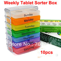 Pill Cases & Splitters PP+PS 7.5*4.5*10.5cm 10pcs lot Colorful Medicine plastic storage Pill 7 Day Tablet Sorter Box Container Case Organizer Free Shipping