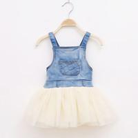 TuTu Summer Pleated 2014 New Arrival Girls Summer Dress Baby Tutu Dress Blue Denim Dress Kids Princess Dresses Children Clothing Cute Casual Dresses ZJ-GD055