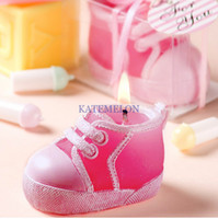 wedding and baby favors - free delivery Wedding candles baby shoe candle tie his shoes Pink and blue two colors Candle Favors