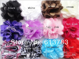 Wholesale Soft Satin Chiffon Mesh Silk Flowers Tulle Puff Flower Head Headband Colors Mixed