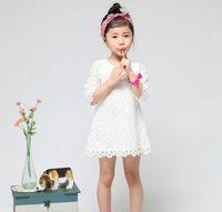 Wholesale Hot sale New Fashion Korean Children Clothing Beautiful White Girls Lace Dress Princess Mini Dresses Kid Baby Clothes