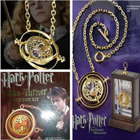 Wholesale New K Gold Plated Harry Potter Time Turner Hermione Granger Rotating Spins Gold Hourglass Necklace