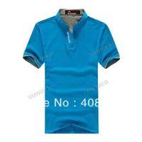 Men Polo Tops Fashion Cool Men's Shirts Stand Collar Polo Shirt Short Sleeve T-Shirt Top Tee 5 Colors M-XXL16865
