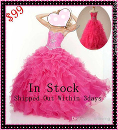 Wholesale DN In Stock Quinceanera Dresses Sweetheart Ruche Full Length Ball Gown Lace Up Prom Girls Gowns US Size