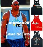 Wholesale Men s Gym Tank Tops Muscle Stringer Bodybuilding Clothes Gold Powerhouse GASP NPC Fitness Wear cotton high quality