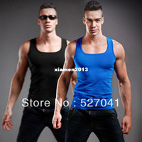 Wholesale mens bodybuilding tank tops for gym sport sleeveless singlet and undershirt in summer big muscle t shirt for men cotton vest