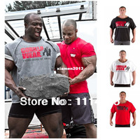 Wholesale Gorilla Wear Classic Work Out Top Men s Muscle Gym Tank Tops Fitness Bodybuilding Bat Shirt T shirt Cotton Loose training